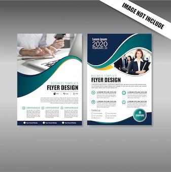 Modelo de negócios de folheto de capa de design para brochura e relatório anual Vetor Premium