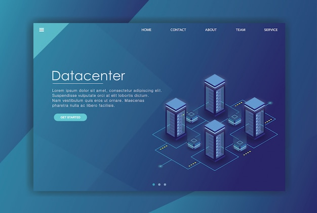 Modelo de negócios de página de destino de dados isométricos