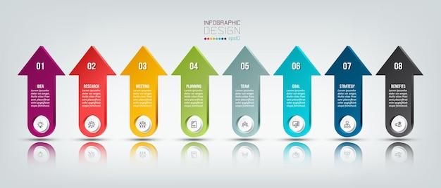 Modelo de negócios infográfico com design de etapa ou opção Vetor Premium