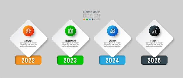 Modelo de negócios infográfico com design de etapas ou opções