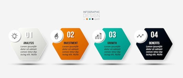 Modelo de negócios infográfico com design de etapas ou opções Vetor Premium