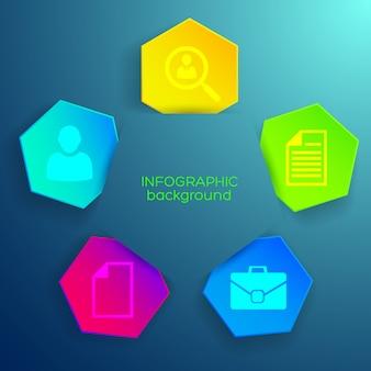 Modelo de negócios infográfico com ícones e hexágonos coloridos