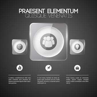 Modelo de negócios infográfico com três opções de círculos de luz em molduras quadradas de vidro e ícones