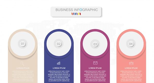 Modelo de negócios infográfico design com números 4 opções ou etapas vector eps10