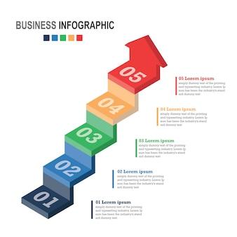 Modelo de negócios infográficos 3d escada com seta, etapas para apresentação, previsão de venda, melhoria, passo a passo