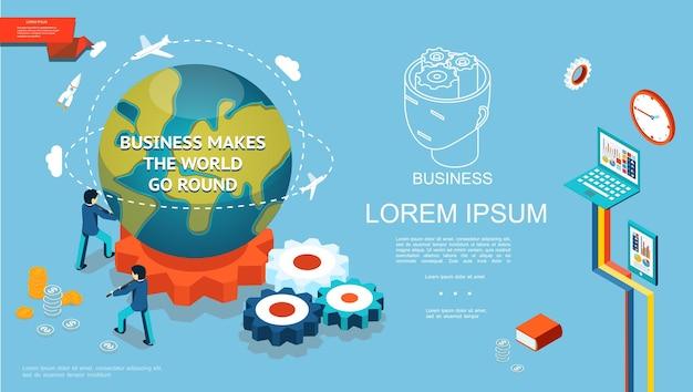 Modelo de negócios isométrico colorido com empresários girar o planeta terra na engrenagem moedas tablet laptop livro relógio ilustração