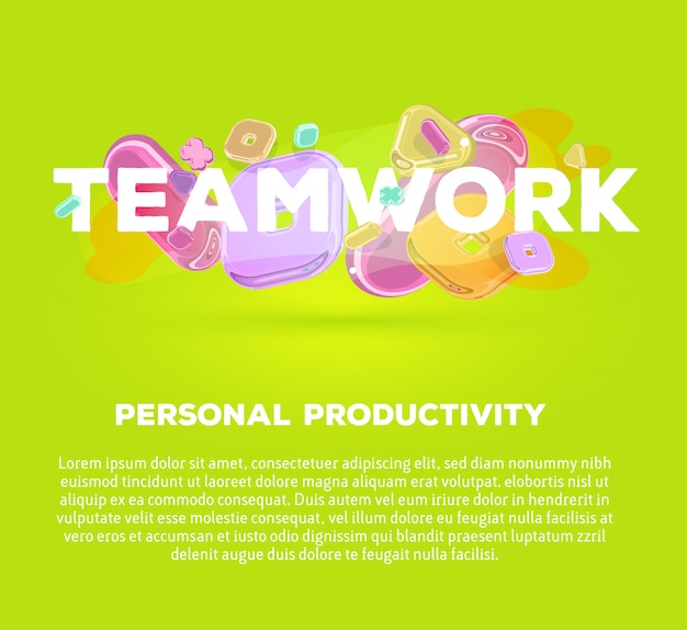 Modelo de negócios moderno com elementos de cristal brilhante e palavra trabalho em equipe sobre fundo verde com sombra, título e texto.