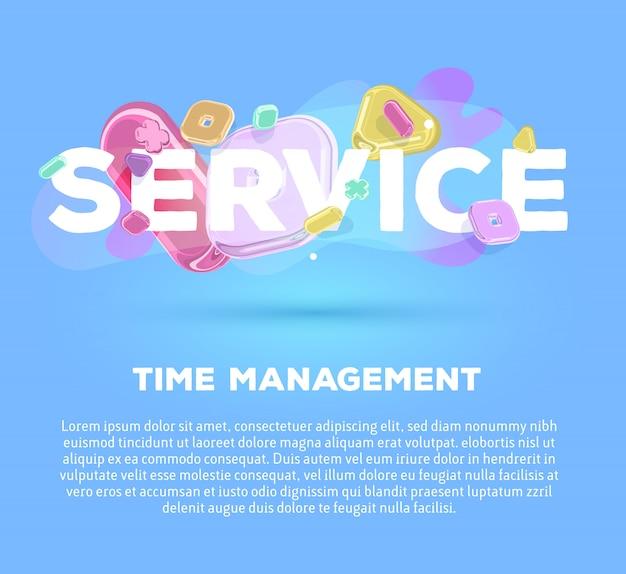 Modelo de negócios moderno com elementos de cristal brilhante e serviço de palavras sobre fundo azul com sombra, título e texto.