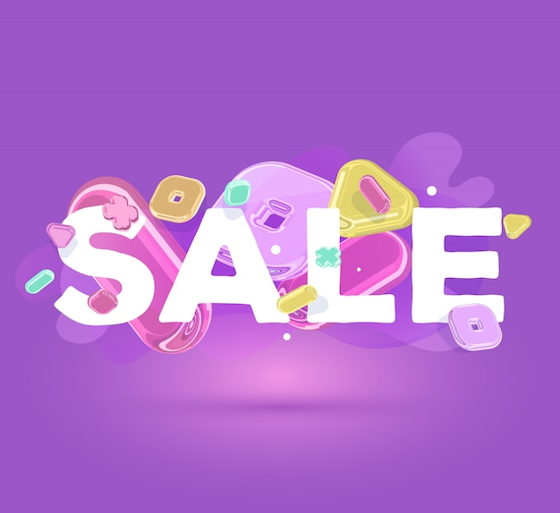 Modelo de negócios moderno com elementos de cristal brilhante e venda de palavra sobre fundo roxo com sombra.