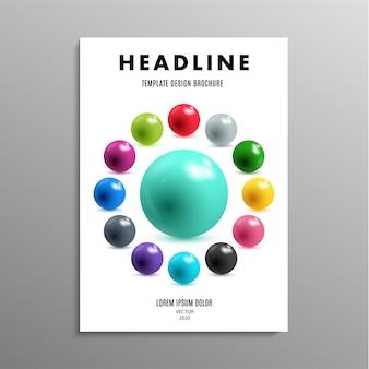 Modelo de negócios ou folheto de layout em tamanho a4 com bolas