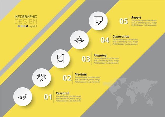 Modelo de negócios ou marketing de infográfico com etapa ou opção