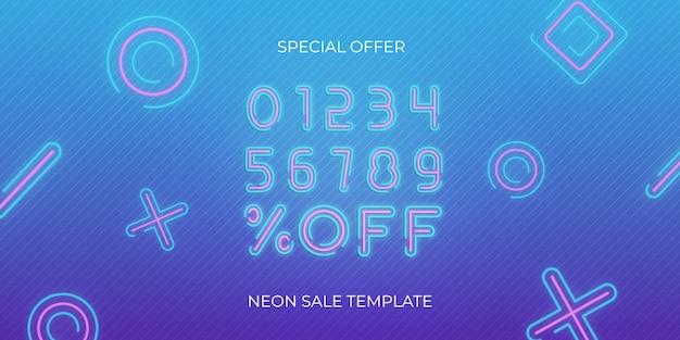 Modelo de néon de banner de venda. modelo de oferta de desconto de venda de néon