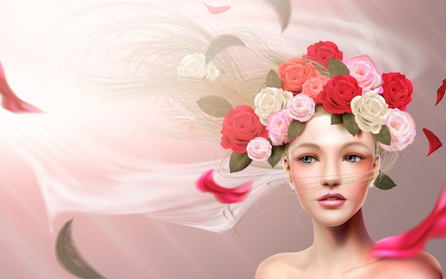 Modelo de noiva graciosa com maquiagem perfeita