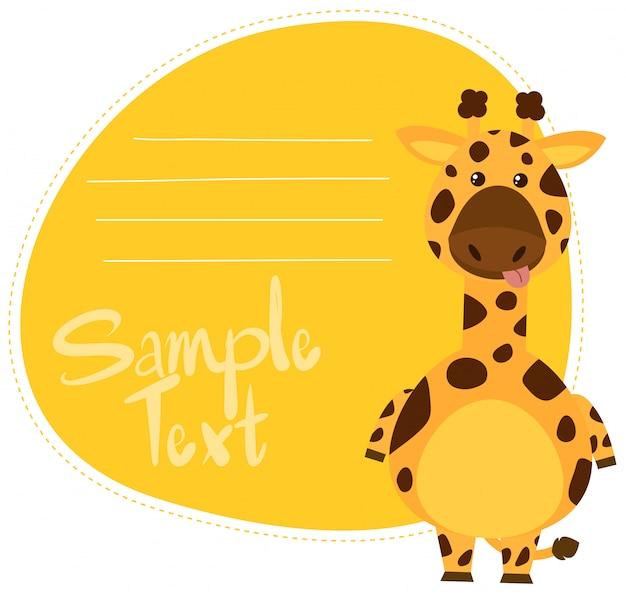 Modelo de nota de girafa dos desenhos animados
