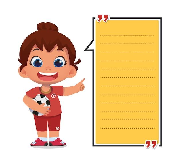 Modelo de nota de papel com personagens infantis segurando uma bola