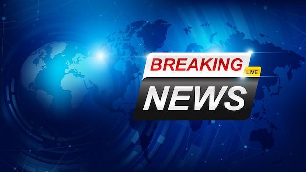 Modelo de notícias de última hora com emblema vermelho e azul em 3d, texto de notícias de última hora em azul escuro com fundo de mapa mundial Vetor Premium
