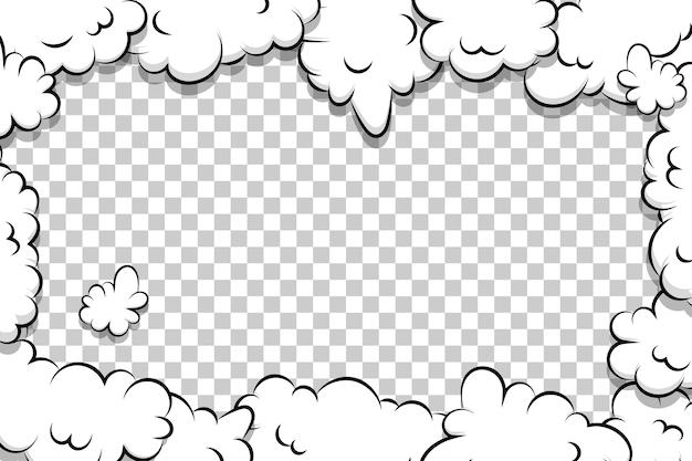 Modelo de nuvem de sopro de desenho animado quadro de quadrinhos para texto