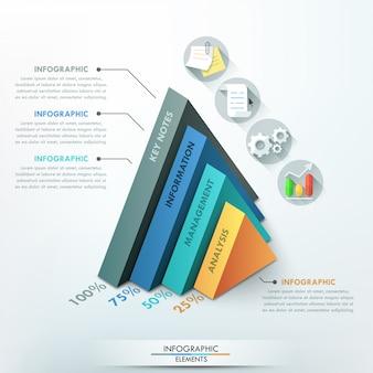 Modelo de opção 3d infográfico moderno com pirâmides