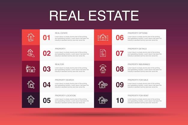 Modelo de opção de imobiliário infográfico 10. ícones simples de propriedade, corretor de imóveis, localização, propriedade à venda