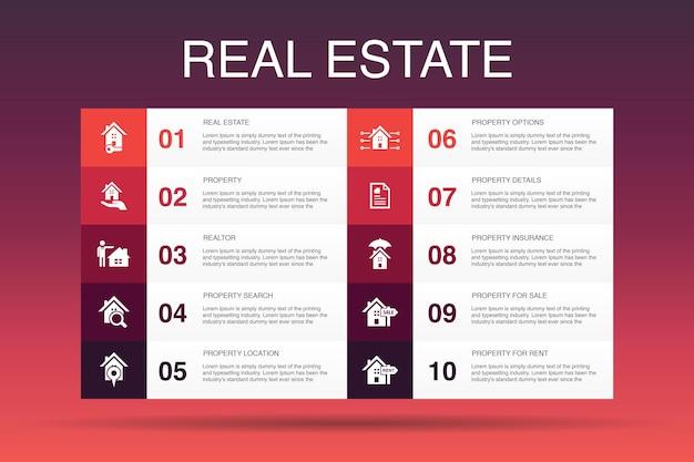 Modelo de opção de imobiliário infográfico 10. ícones simples de propriedade, corretor de imóveis, localização, propriedade para venda