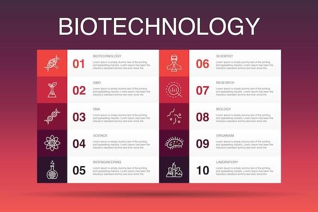 Modelo de opção de infográfico 10 de biotecnologia. dna, ciência, bioengenharia, ícones simples de biologia