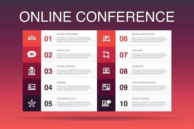 Modelo de opção de infográfico 10 de conferência online. chat em grupo, aprendizagem online, webinar, ícones simples de teleconferência