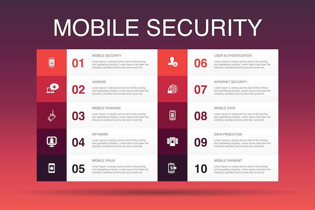 Modelo de opção de infográfico 10 de segurança móvel. phishing de celular, spyware, segurança de internet, ícones simples de proteção de dados