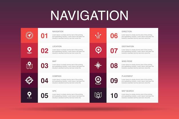 Modelo de opção de navegação infográfico 10. ícones simples de localização, mapa, gps, direção