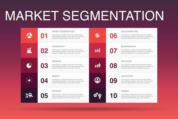 Modelo de opção de segmentação de mercado infográfico 10.demografia, segmento, benchmarking, ícones simples de grupo de idade