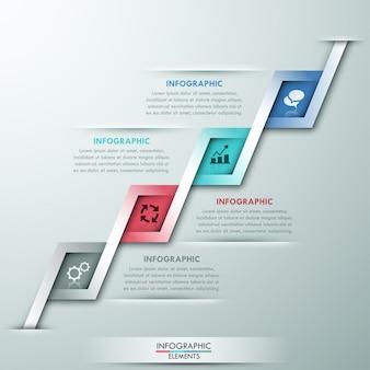 Modelo de opção moderna infográfico com 4 fitas