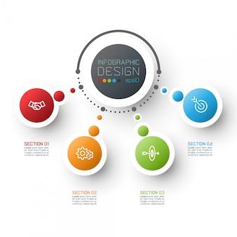 Modelo de opções de etapa de infográficos negócio abstrato.