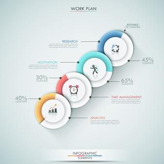 Modelo de opções de infografia moderna com 4 gráficos de pizza