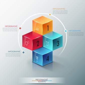 Modelo de opções de infografia moderna com cubos