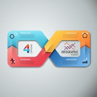 Modelo de opções de infografia moderna com fita
