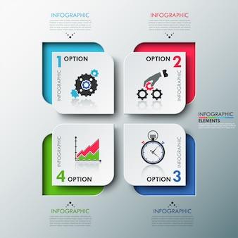 Modelo de opções de infografia moderna com folhas de papel