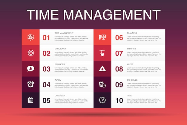 Modelo de opções de infográfico de 10 para gerenciamento de tempo. eficiência, lembrete, calendário, ícones simples de planejamento