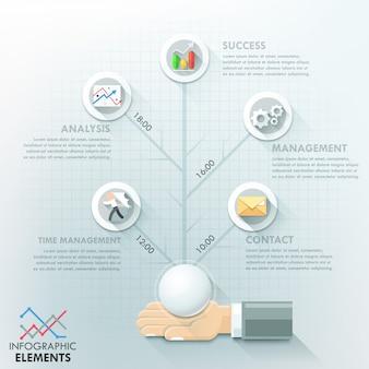 Modelo de opções de infográfico de mão de negócios