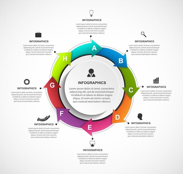 Modelo de opções de infográficos com setas em um círculo.