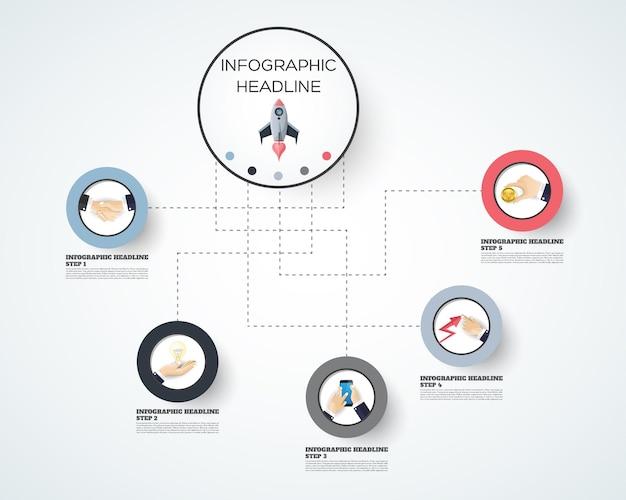 Modelo de opções de número de infográficos abstratos. ilustração vetorial. pode ser usado para layout de fluxo de trabalho, diagrama, opções de etapas de negócios, banner, design de web. Vetor Premium