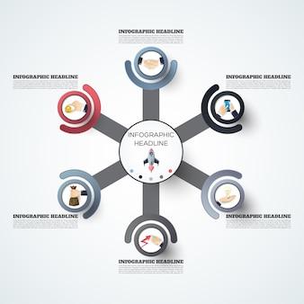 Modelo de opções de número de infográficos abstratos. ilustração vetorial pode ser usado para layout de fluxo de trabalho