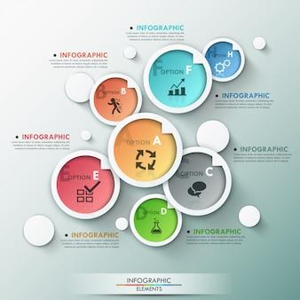 Modelo de opções modernas infográfico