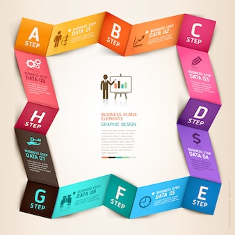 Modelo de origami de infográficos de negócios modernos.