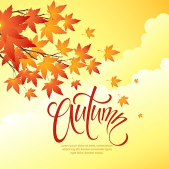 Modelo de outono com folhas caindo no céu amarelo