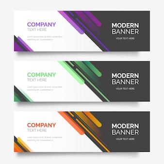Modelo de pacote de banner colorido moderno