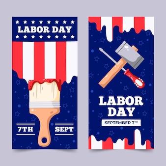 Modelo de pacote de banners do dia do trabalho