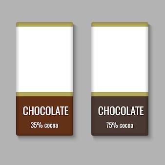 Modelo de pacote de barra de chocolate realista