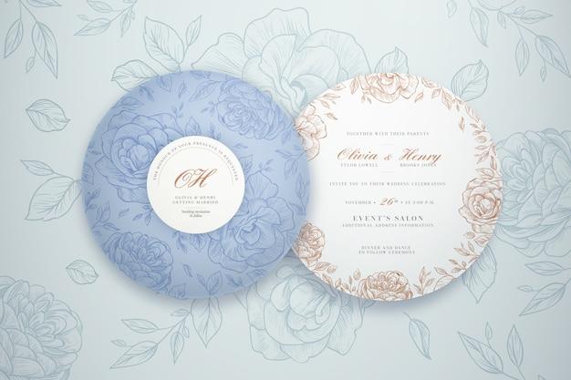 Modelo de pacote de convite de casamento redondo elegante
