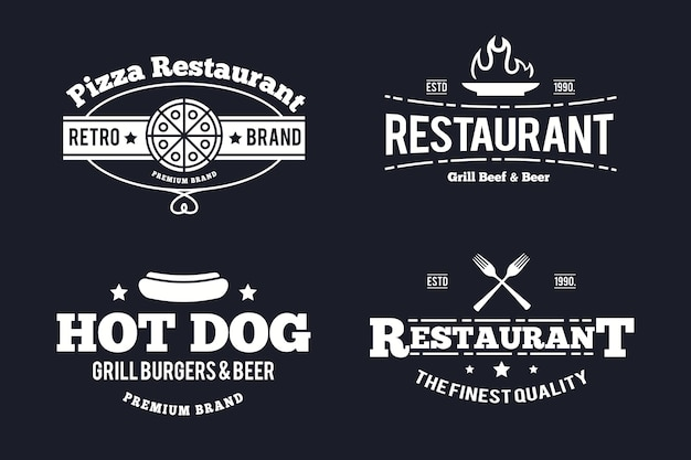 Modelo de pacote de logotipo vintage de restaurante