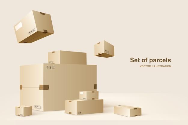 Modelo de pacotes. caixas de papelão para embalagem e transporte de mercadorias. ilustração do conceito.