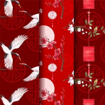 Modelo de padrão com ilustração em aquarela de feliz ano novo chinês